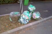FOTO - Un mănăşturean se plânge de angajaţii Rosal: Golesc coşurile stradale în saci de gunoi Rosal şi totul rămâne în stradă