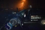 VIDEO - Mașină de la Scutul Negru, făcută praf, după un impact cu stâlpul!  Agentul de pază a fost rănit și dus la spital