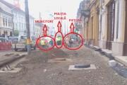 FOTO - Pietoni puși în pericol de municipalitate. Clujenii circulă pe Memorandumului printre utilaje, șanțuri și muncitori. Zona nu este izolată și un accident se poate produce oricând!