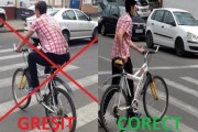 Accident rutier în centrul Clujului, biciclist rănit grav