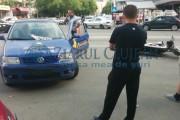 IMAGINI - Accident de motocicletă în Mănăștur, în față la Big. Șoferul unei firme de pază a spulberat un biker
