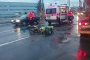 FOTO/VIDEO - Accident de motocicletă pe strada Fabricii. Un șofer mort de beat a băgat un biker în spital