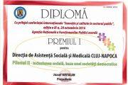 Premiul I pentru Direcția de Asistență Socială și Medicală  în cadrul Competiţiei celor mai bune practici din administraţia publică din România