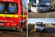FOTO - Accident între Luna de Sus și Gilău! Autoturism proiectat de o autoutilitară sub un camion