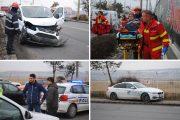 FOTO/VIDEO - Accident între un BMW și o dubă Fan Courier, pe strada Traian Vuia. O persoană a fost rănită