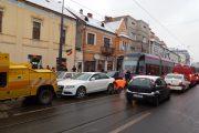FOTO - Tramvaiele au fost blocate o oră, pe strada George Barițiu