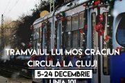Tramvaiul lui Moș Crăciun circulă în Cluj-Napoca, cei mici primesc daruri