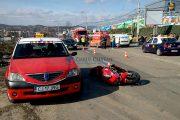 FOTO/VIDEO - Primul accident de motocicletă în 2017, pe varianta Zorilor Mănăștur, strada Frunzișului. Bikerul, rănit și dus la spital