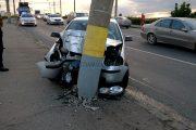 VIDEO - O tânără a rupt cu autoturismul un stâlp de la podul Ira