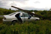 VIDEO - Accident între Nădășelu și Sânpaul. Un BMW a rupt un stâlp