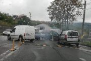 FOTO - Accident pe strada Frunzișului, varianta Zorilor - Mănăștur. Un BMW a derapat din cauza vitezei