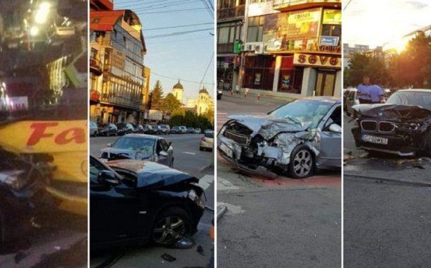 FOTO - Carambol în cartierul Mărăști. Un autocar și trei autoturisme implicate în accident
